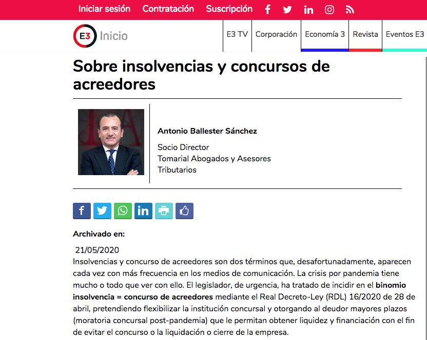 """Artículo de Antonio Ballester en Economía 3: """"Sobre insolvencias y concursos"""""""