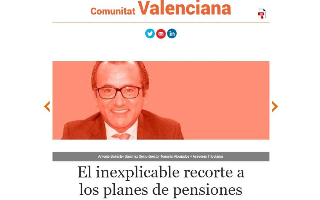 Artículo de Antonio Ballester en El Economista sobre el recorte a los planes de pensiones individuales