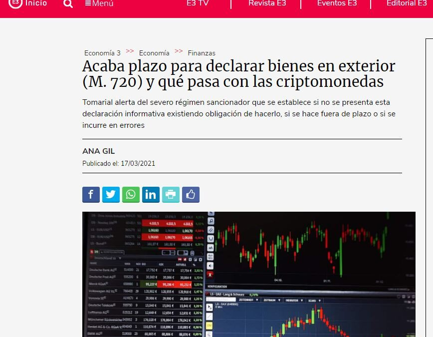 Cryptocurrencies and model 720: our tax team solves all doubts in the magazine Economía 3