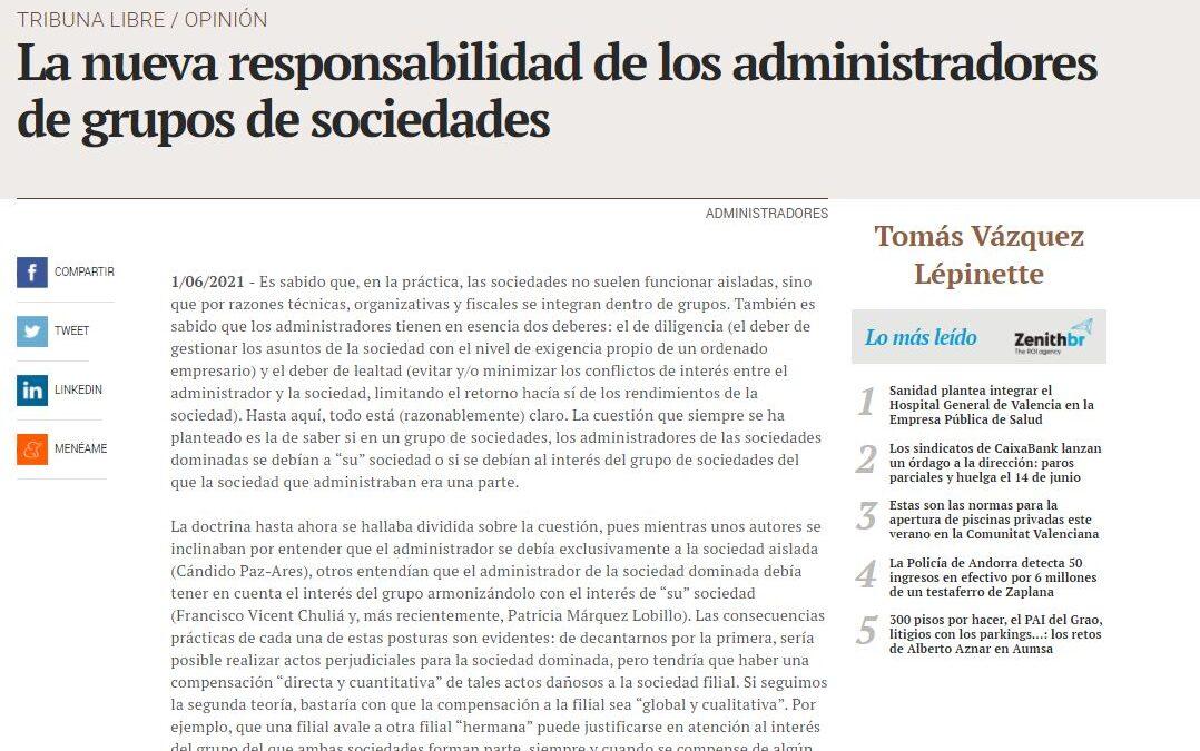 Artículo de Tomás Vázquez en Valencia Plaza sobre la responsabilidad de los administradores de grupos de sociedades